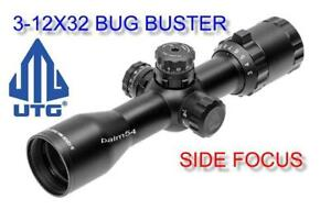 Leapers-UTG-3-12x32-CQB-Bug-Buster-SIDE-FOCUS-Rings-amp-LENS-COVER-Quick-Detach-Mt