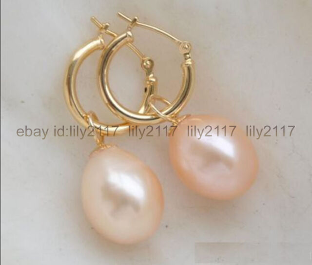 Aaa 8 9mm Rice Type South Sea Pink Pearl Earrings 14k Gold