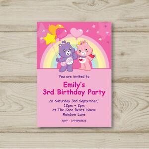Care Bears Rainbow Birthday Party Invitations Personalised