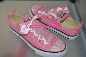 e3888b2efdb0 Image is loading Custom-Crystal-Diamante-Bling-Pink-Lo-Top-Converse-