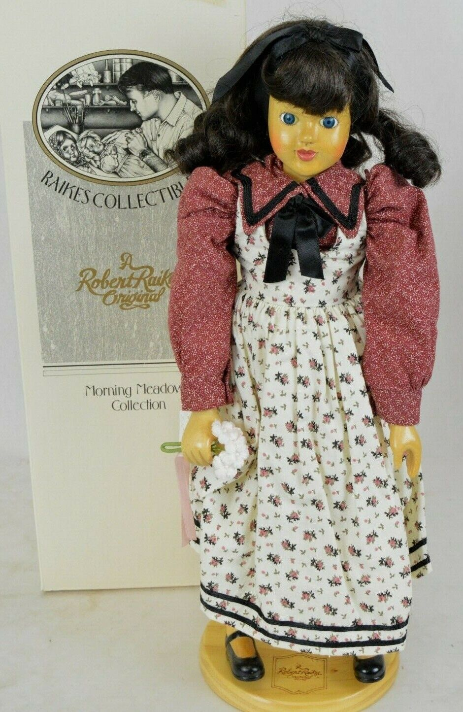 """Robert Raikes Wood Doll Morning Meadow Collection """"Abigail"""" 38547 Applause COA"""