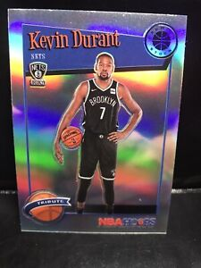 2019-20 NBA Hoops Premium Stock Tribute Kevin Durant Nets Silver Prizm #284!