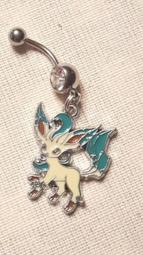 leafeon Pokemon  Belly Ring Navel Ring 14G Surgical Steel Dangle