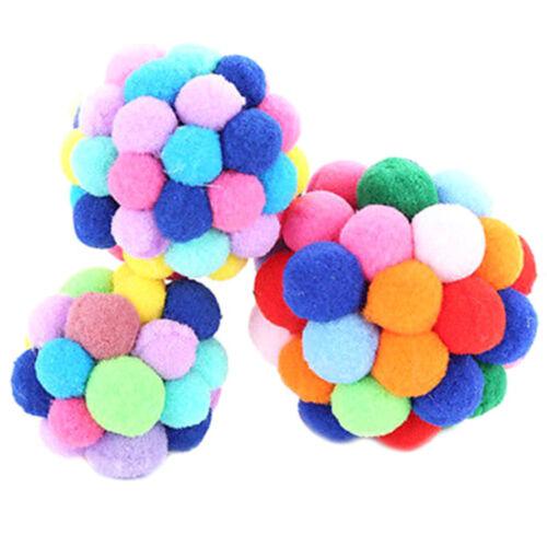 Pet Cat Toy Colorful Handmade Bells Bouncy Ball Built In Catnip Interactive ToHK