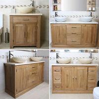 Oak Bathroom Vanity Unit Wash Stand | White & Beige Marble Top Basin Sink & Tap