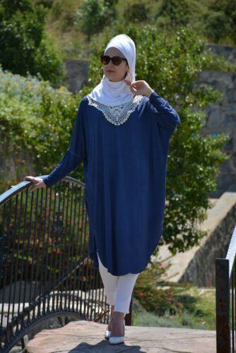 Tesettür Tunik-Hijab Kleid-langer Oberteil H-2072 Baumwolle Tunika