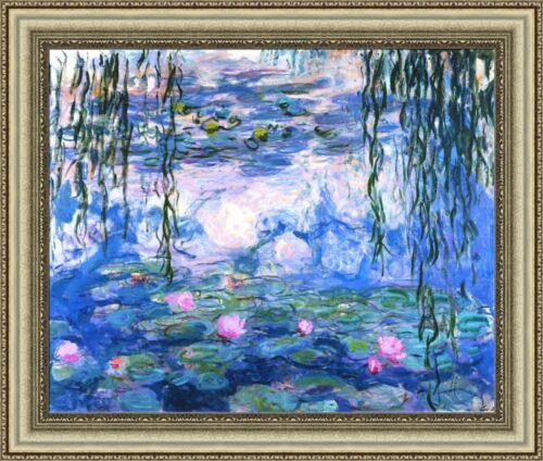 "Claude Monet Water Lilies Framed Canvas Giclee Print 32/""x27/"" V15-21"