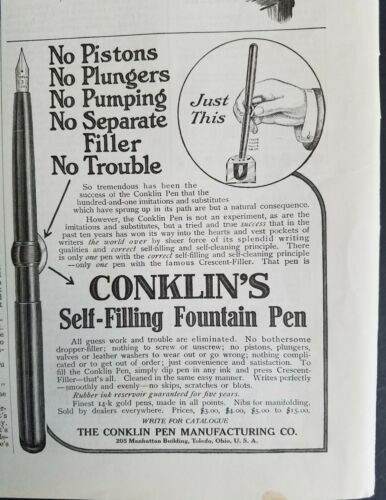 1909 Conklin selffilling fountain pen vintage original ad