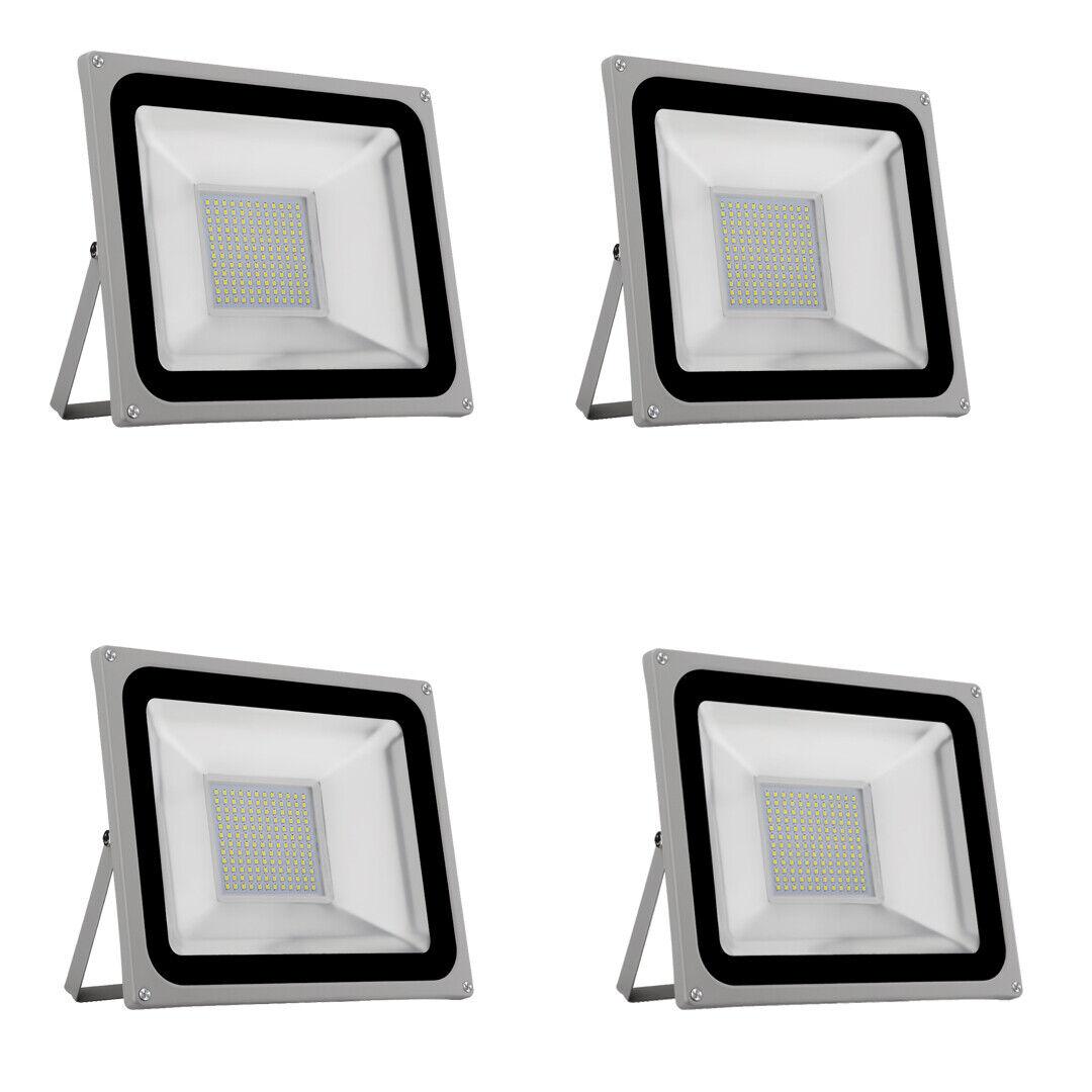 4X 100W LED Luz Exterior De Jardín Explanada De Seguridad Reflector IP65 blancoo frío