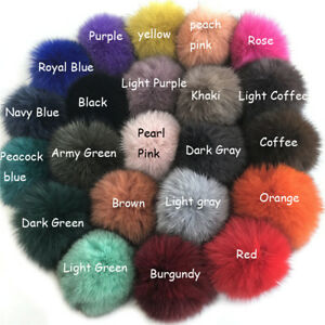 1PC 10cm 3.9inch Real Fox Fur Pom Poms Ball for Shoes Phone Hat DIY Accessories