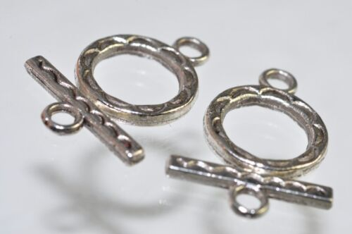 Antique Silver Rhodium Plated Over Copper Fancy Bali Style Toggle Clasp D0797