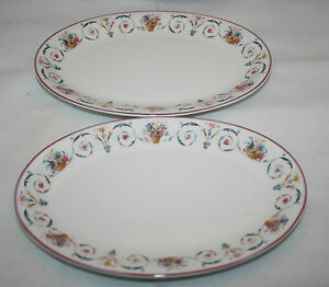 Set-of-2-Mikasa-Maxima-Cam-06-Spring-Tribute-Sabine-Chenneviere-Oval-Plates-Rare
