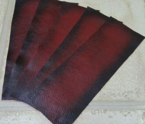 """Rojo Modelo 9/"""" × 3/"""" Antiguo frotar apagado 100/% Cuero offcuts 1mm 4 Piezas Artesanía Parche"""