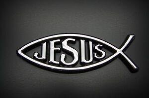 3d Autocollant Jésus poisson ICHTHYS Autocollant Christ poisson Chrome Design Preskin