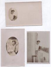 Lot 3 PHOTO ANCIENNE Femme Curiosité photographique Chien Montage Cache 1900