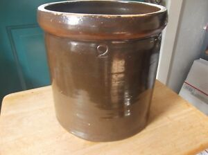 Vintage Brown Pottery Stoneware Crock with the Number 2 on the Side