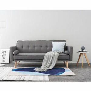 Details about NEW 3 Seater Fabric Grey Scandinavian style Sofa Bed Modern  Home Furniture