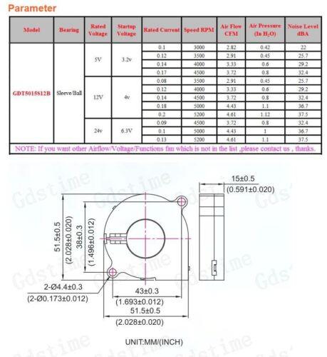 2 Pcs 5V Gdstime DC 5015 mm Blower Radial Cooling Fan Hotend Extruder RepRap