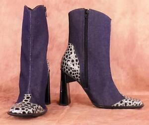 MANGO-CROCO-Sz-8-Zipper-Blue-Denim-with-Crocodile-Print-Chunky-Heel-Ankle-Boot