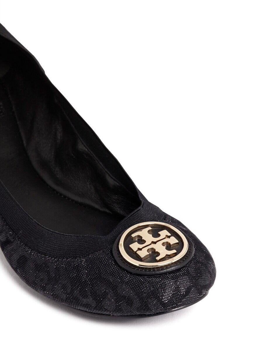 Tory Burch CAROLINE 2 Leopard Lurex Logo Ballet Ballerina Flats Shoes Black 7