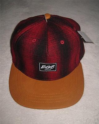 NWT ECKO UNLTD PLAID FLANEL MEN BASEBALL CAP HAT ONE SIZE ADJUSTABLE RED