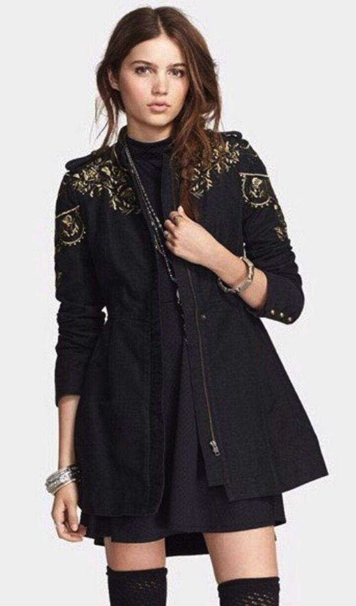 Free People RARE Embellished Sergeant Coat dark charcoal embroidery NWT 248 Sz 2