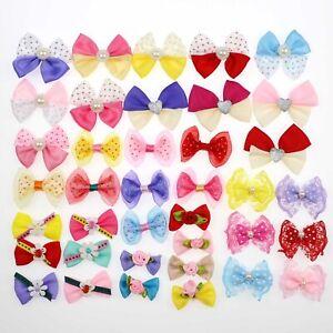 10-100P-Small-Satin-Ribbon-Bows-Flower-Appliques-sew-Craft-Kid-039-s-cloth-DIY-Decor