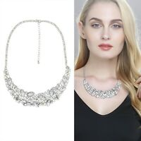 Women Luxury Pretty New Big Rhinestone Crystal Bib Statement Collar Necklace