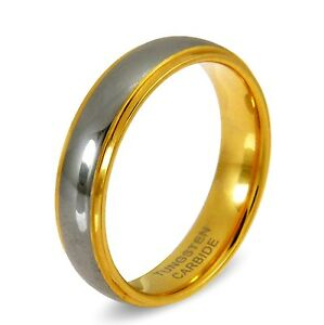 Mens Tungsten Carbide 24ct Gold Wedding Ring Band 6mm Wide Comfort