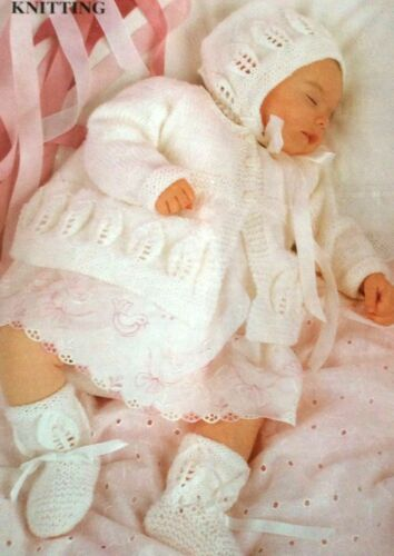"""Motif tricot ~ motif feuilles bébé pu manteau bonnet /& bootees DK 18-20 /"""""""