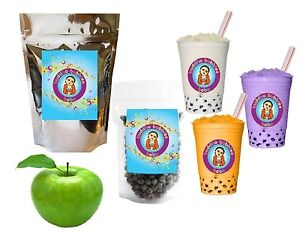 10-Drinks-Green-Apple-Boba-Tea-Kit-Tea-Powder-Tapioca-Pearls-amp-Straws