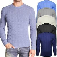 Mens Gents Crew Neck Long Sleeve Chunky CABLE KNIT Plain Jumper Sweater Knitwear