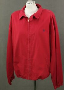 RALPH-LAUREN-Mens-Red-Harrington-JACKET-COAT-Size-Extra-Large-XL