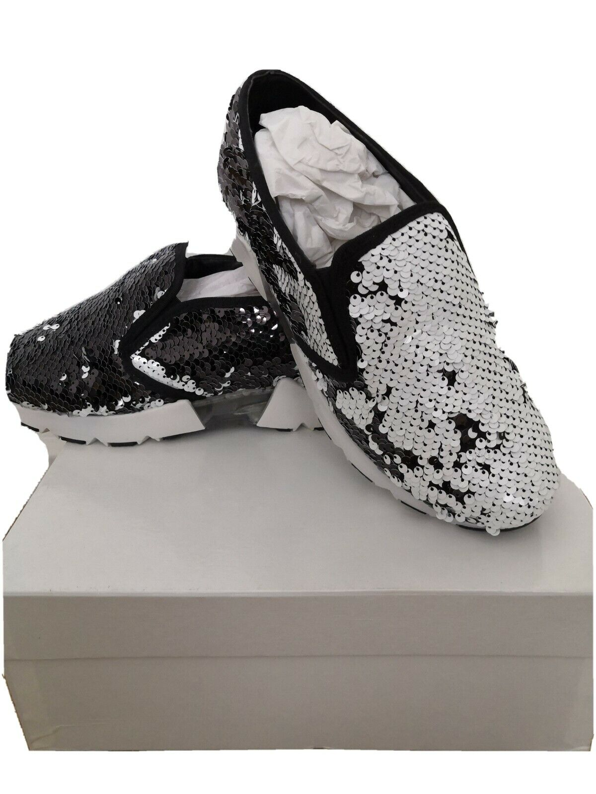 Reversable black and white sneackers size 4 Made in Italy