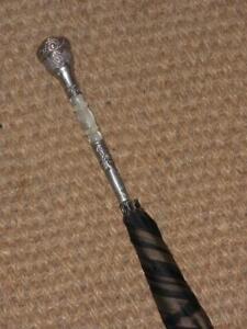 Aufrichtig Antique Sterling Silver- Black Cotton Canopy Umbrella With Mother Of Pearl Um Der Bequemlichkeit Des Volkes Zu Entsprechen