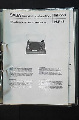 Gerade Saba Psp 45 Original Service-manual/handbuch/schaltplan Top-zustand! O34 Reichhaltiges Angebot Und Schnelle Lieferung