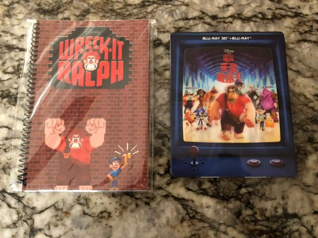 Disney's Wreck it Ralph 3D Lenticular Blufans Blu-Ray Steelbook w/Notepad