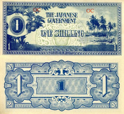 OCEANIA P-2a 1 SHILLING CHOICE CRISP AU 1942 JIM OCCUPATION NOTE WORLD CURRENCY!