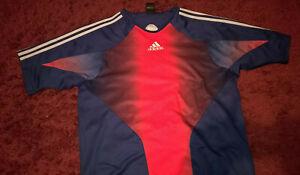 Mens-Adidas-Sports-T-Shirt-uk-42-44-Blue-Red-White