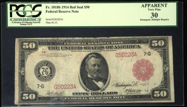 1914 $50 Red Seal Federal Reserve Note - Fr. 1018b PCGS VF30 #10461