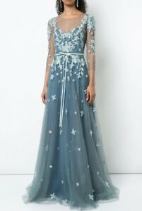 1195-NEW-Marchesa-Notte-Floral-Tulle-Appliqued-Gown-Beaded-Blue-8-10-12-14-16
