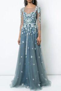 dbe5846394e13c  1195 NEW Marchesa Notte Floral Tulle Appliquéd Gown Beaded Blue 8 ...
