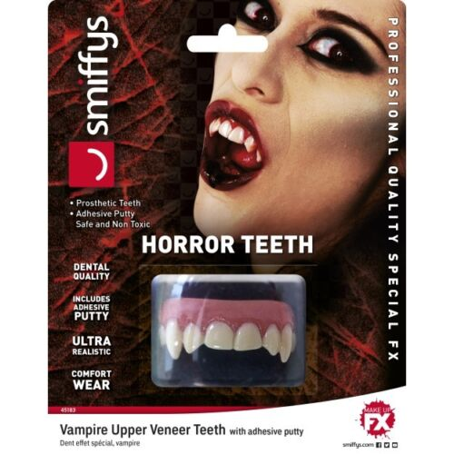 Uomini Donne realistico FX Horror Vampiro Denti Superiori impiallacciato Halloween Fancy Dress
