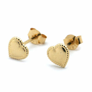 14k-Solid-Yellow-Gold-Beaded-Edge-Heart-Stud-Earrings