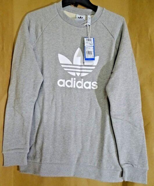 NEW Adidas Originals Trefoil Warm Up Sweatshirt Mens SMLXL CY4573 GreyWhite