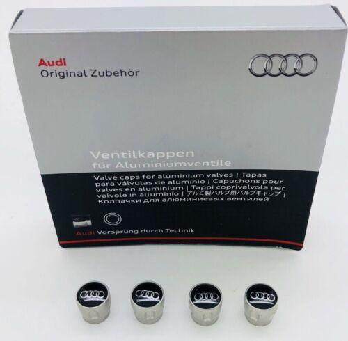 Conjunto de cuatro Genuine Audi 4 anillos con el logotipo de Aluminio Neumático Tapas De La Válvula X4