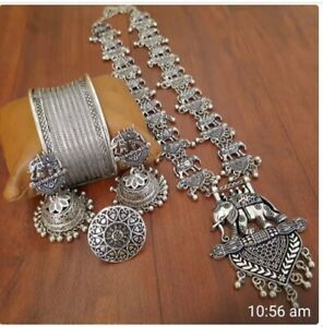German Silver Jewelry Indian ethnic necklace set Oxidised German Silver Indian necklace with Black stone Cabochon and matching jhumka