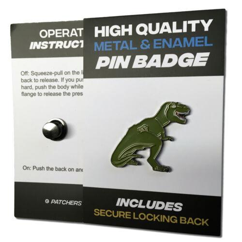 T-Rex Dinosaur High Quality Metal /& Enamel Pin Badge with Secure Locking Back