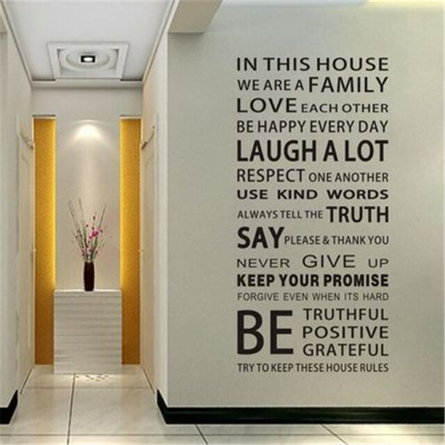 Great Wall Decal Quote In This House We Are Family Text Stairs Decor Sticker Bb