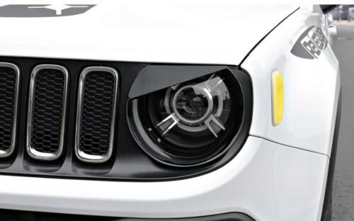 Black Eyebrow Headlight Bezels Cover Mouldings trim for Jeep Renegade 2015-2017